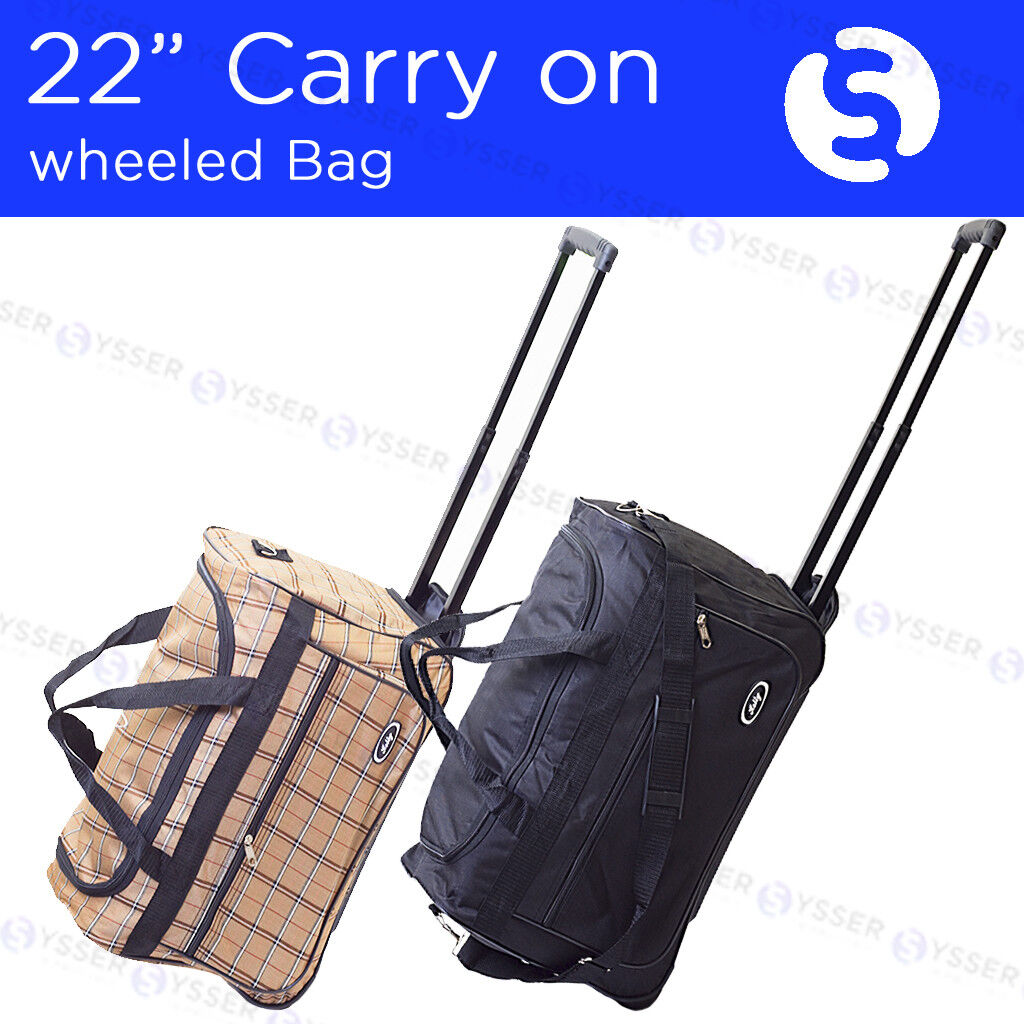 "22"" Rolling Wheeled Duffle Bag Tote Carry On Travel Suitcase"
