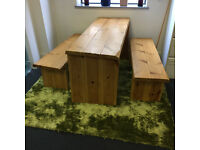 Rustic table and 2 matching benches natural pine wood good condition 150x58x76 free grass effect rug