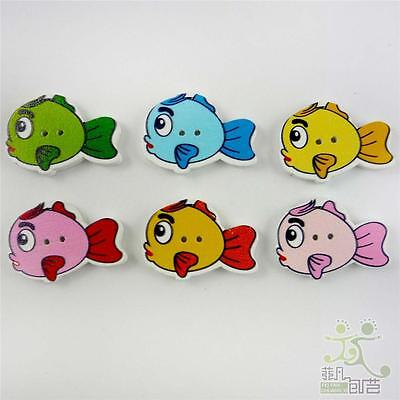 Diy Fish Costume (Mixed Fishes Animals Wooden Button/Flatback Lot 27x20mm Craft Embellish)
