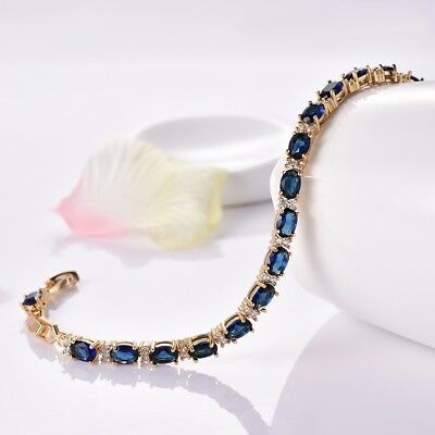 Women Yellow Gold Filled Blue Sapphire Crystal Gemstone Tennis Bracelet Chain