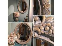 LARGE OVAL WALL MIRROR SHABBY CHIC DECORATIVE STYLE