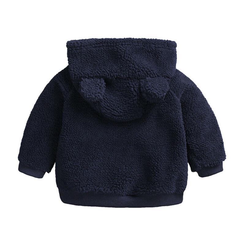 US Newborn Boy Hooded Fur Coat Warm Thick Clothes