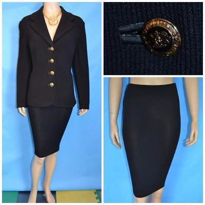 St. John Collection Black Jacket & Skirt L 10 12 2pc Suit Crest Logo Classic