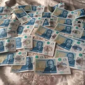 30 RARE AA & AK £5 NOTES AND £2 COINS