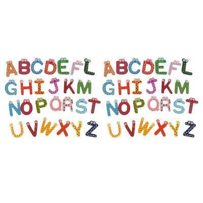 52 Pcs Magnetic Wooden Alphabet Letters ABC Upper Case Fridge Magnets