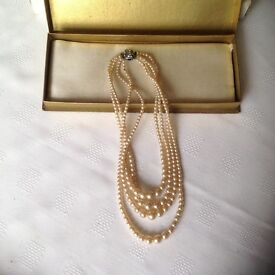 Vintage 4 Stranded Simulated Pearl Necklace with Box