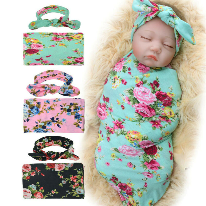 Newborn Infant Baby Receiving Blanket with Headband Floral S
