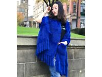 DAYMISFURRY -- Knitted Rabbit Fur Shawl with Fringes In Royal Blue