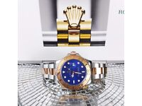 Rosegold/Silver Rolex Yachtmaster II. Blue face, Rosegold Bezel. Rolex bagged, Boxed with paperwork