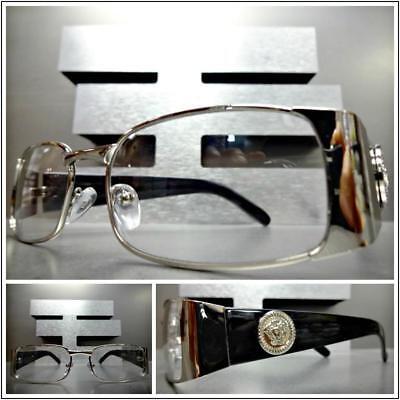 Herren Edel Moderne Klarglas Brillen Rechteckig Silber & Schwarzer Rahmen