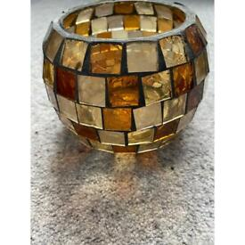 Pretty glass mosaic candle holder