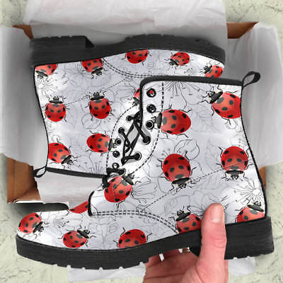 Ladybug Booties - Realistic Ladybug Women Boots, Ladybird Booties Lover Vegan Leather Shoes