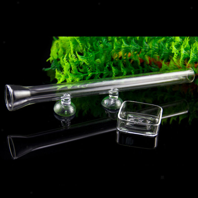2Pcs Aquarium Shrimp Feeding Tube with Food Bowl Feeder Transparent Tray Glass