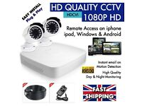 HD CCTV 1080P 4 Channel DVR SURVEILLANCE -1 x DVR (1TB) 2 x DAY & NIGHT Cameras - Remote Viewing