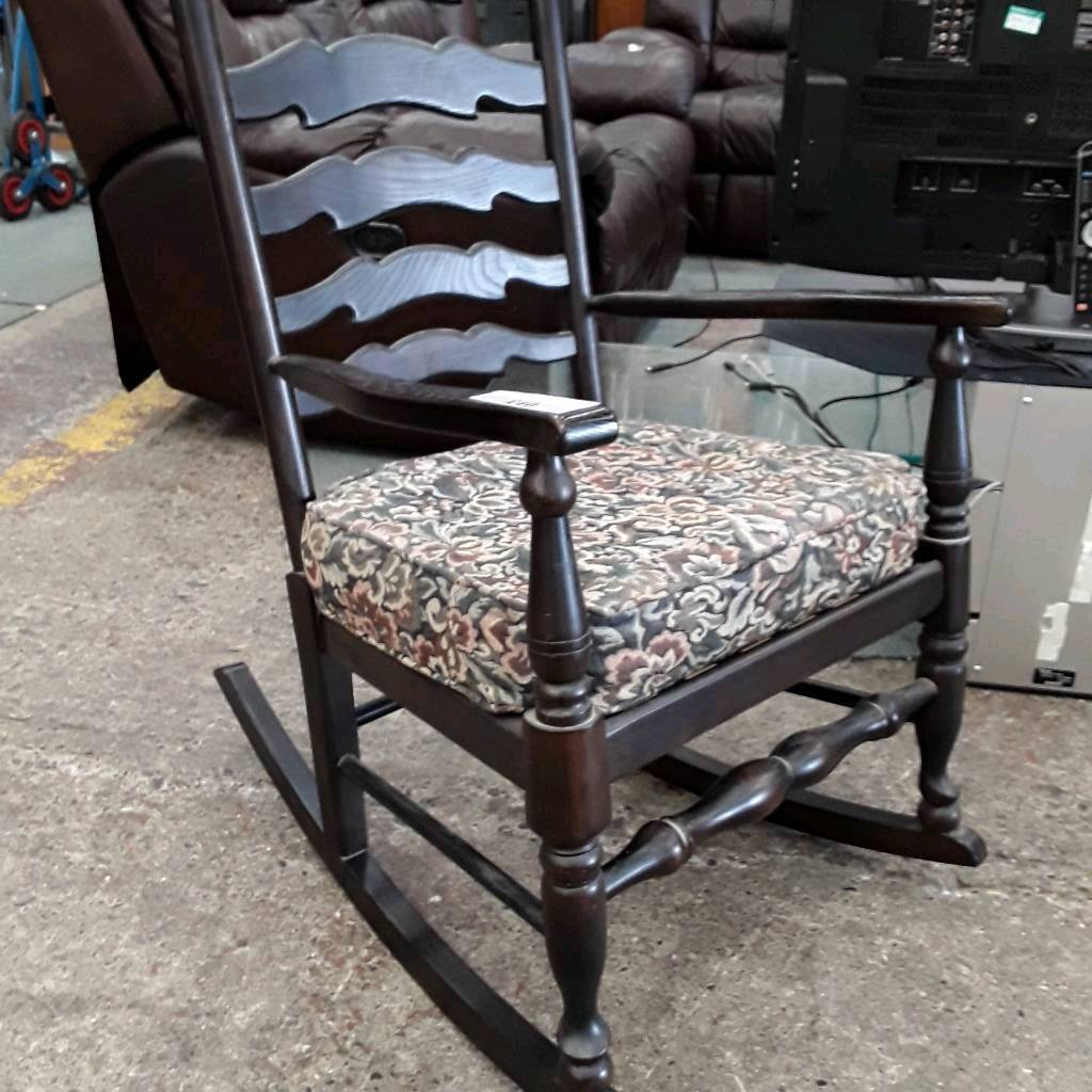 Vintage Style Rocking Chair. Cushioned Fabric Seat