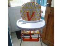 high chair very good condition hardly ever used worth seeing suit either sex