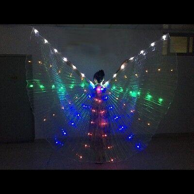 LED Isis Wing Schleier Bauchtanz Kostüm orient Deko Regenbogen LED Licht Kostüm