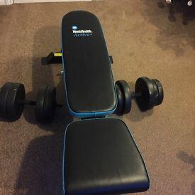 Men's Health Utility Bench and 47k vinyl weight set