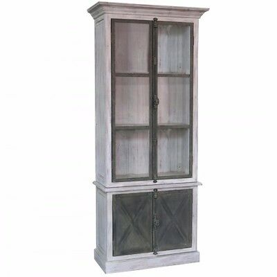 White x White Ansley Vitrine Cabinet French Country Vintage Wood -