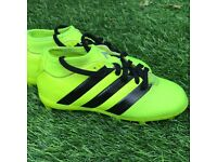 Boys size 11 adidas Ace 16.3 fluorescent green stud boots