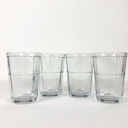 Vintage Pasabahce Set of 4 Small Glasses Juice Square Pattern Drinking Glasses