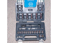 halfords advanced 28 piece 3/8 inch socket set new, unused metric, inc deep sockets , boxed unused