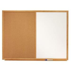 New open box Quartet® Standard Combo Whiteboard/Bulletin Boards, Oak Frame & Natural Cork DI14