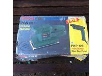 Bosch PSS 23 Orbital Sander with PKP 13E Electronic Glue Gun Pistol