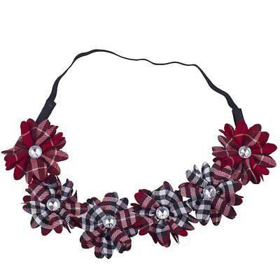 Lux Accessories Red Plaid Pattern School Girl Chiffon Headband Flower Crown