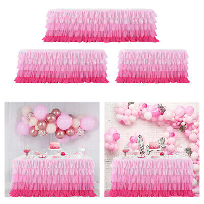 Ruffled Table Skirt (5-layer Tulle Ruffled Table Skirt Cover Birthday Party Tableware Cloth)
