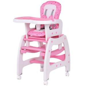 3 in 1 Baby High Chair Convertible Play Table Seat Booster Toddler Feeding Tray - BRAND NEW - FREE SHIPPING
