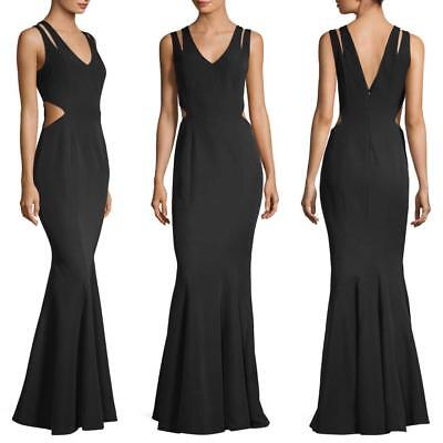 Length Cut Out - NEW JAY GODFREY BLACK Rasa CUT OUT Floor Length Dress EVENING GOWN 8