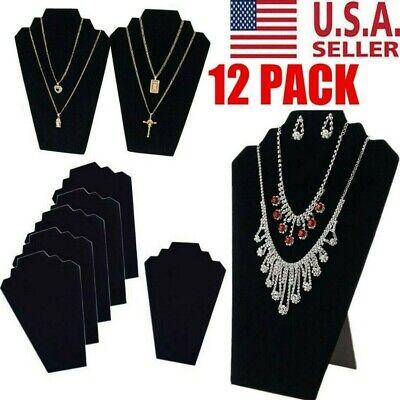 12PCS NECKLACE JEWELRY DISPLAY STAND Black Velvet Pendant Holder Mannequin USA