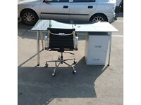 Black glass office desk, white metal pedestal and Charles Eames style operator chair