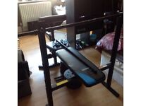 Great Folding weights bench with leg exerciser and preacher curl station + 2 Dumbbells