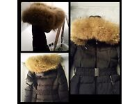Women's real fur belted puffer jacket black size 12