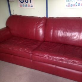 Stunning High Quality Red Leather Sofa/Sofabed