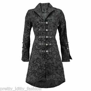 VICTORIAN-BLACK-FLOCK-SWALLOWS-TATTOO-GOTH-STEAMPUNK-EMO-COAT-JACKET-SIZE-8-26