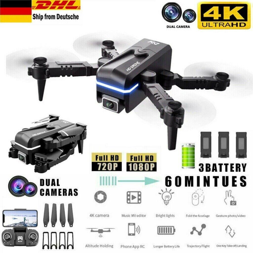 Faltbar WIFI FPV Drohne mit 4K 1080P HD Kamera Mini Selfie Quadrocopter RC Drone