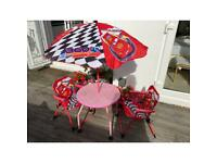 Disney CARS Outdoor x2 Chairs / Table and Sun Umbrella