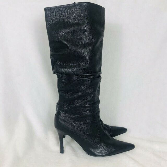 0123e688203 Well Worn Black Genuine Leather Ladies Knee High Thigh Boots Used Heels  Party Long Slouch Size 6