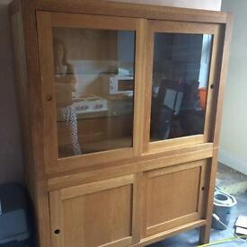 Solid oak display cabinet £40 ono