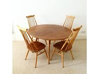 Beautiful 1960s Vintage Ercol drop leaf table and 6 Goldsmith chairs