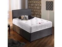 "Suede Divan Bed & 10"" Deep Memory Foam Sprung Mattress With Free Headboard FREE NATIONWIDE DELIVERY"