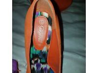 Muti coloured lipsy dress size 10 brand new also orange swede high heel shoes size 5 brand new