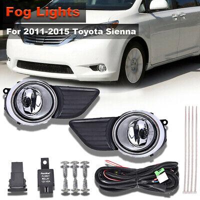 Amber Lens Front Driving Fog Light//Lamp+Switch+Black Bezel FOR 2011-17 Sienna