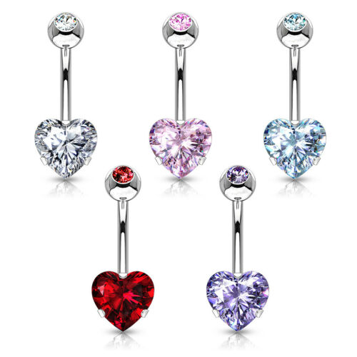 5pcs Prong Set CZ Gem Heart Belly Rings Navel Naval Wholesale Lot Five Colors
