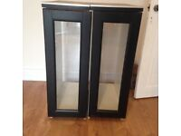 Home made kitchen/workshop/utility room cabinets cupboards with Ikea Glass doors and tile top