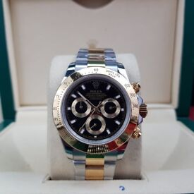 New Complete Package bi strap black face ceramic bezel Rolex daytona automatic sweeping