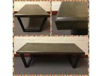 Industrial Coffee table/Wood/steel/powder coating/bespoke/furniture/vintage